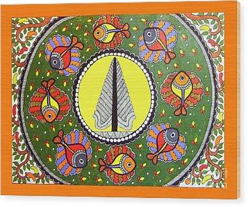 Life Of Tree-madhubani Painting Wood Print