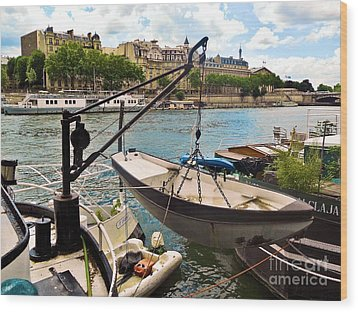 Life On The Seine Wood Print by Lauren Leigh Hunter Fine Art Photography