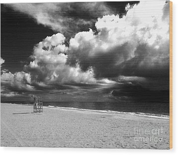 Lifeguard Chair Clouds Wood Print by WaLdEmAr BoRrErO