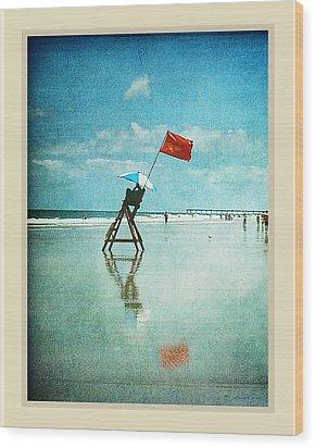Lifeguard Flag Wood Print by Linda Olsen