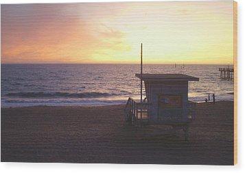 Lifeguard Shack At Sunset Wood Print by Mark Barclay