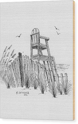 Lifeguard Stand Wood Print