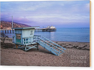 Lifeguard Tower And Malibu Beach Pier Seascape Fine Art Photograph Print Wood Print