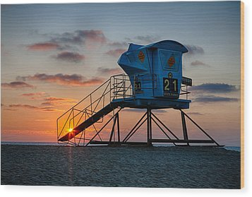Lifeguard Tower At Sunset Wood Print by Peter Tellone