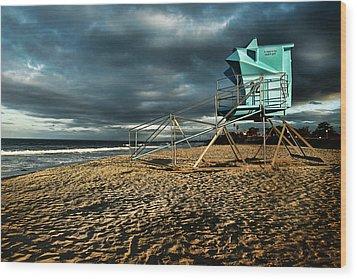 Lifeguard Tower Series - 9 Wood Print by James David Phenicie
