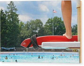 Lifeguard Watches Swimmers Wood Print by Amy Cicconi