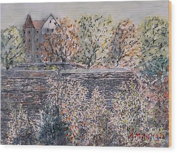 Wood Print featuring the painting lifting dark Nuremberg emperors castle by Alfred Motzer