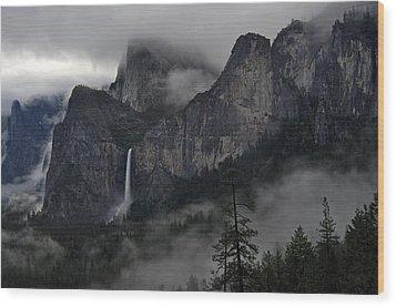Lifting Fog And Clouds At Bridalveil Fall Wood Print