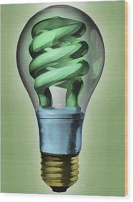 Light Bulb Wood Print by Bob Orsillo
