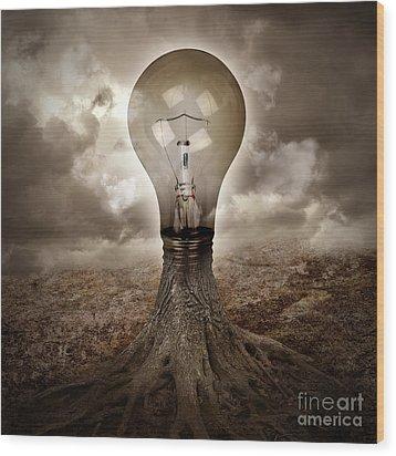 Light Bulb Growing An Idea In Nature Wood Print by Angela Waye