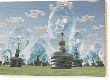 Light Bulb Heads And Dollar Symbol Clouds Wood Print