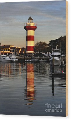 Light House At Harbour Town Wood Print by Dan Friend