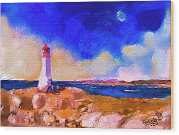 Wood Print featuring the painting Light House At Peggys Cove by Ted Azriel
