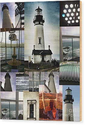 Light House Collage Wood Print by Susan Garren