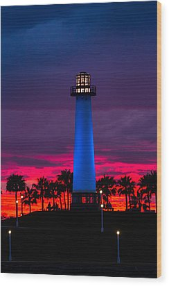 Light House In The Firey Sky Wood Print by Denise Dube
