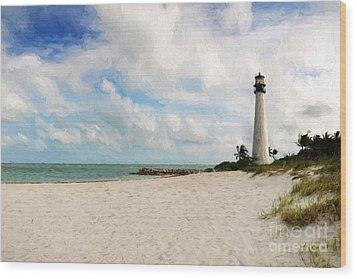 Light House On The Beach Wood Print