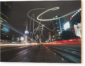 Light In Seoul Wood Print by Yoo Seok Lee