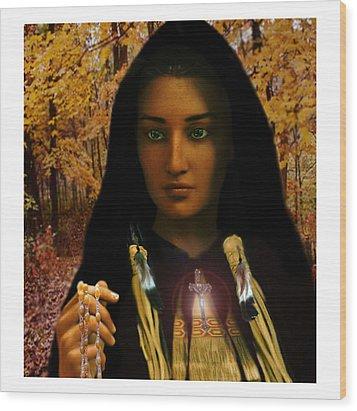Saint Kateri Tekakwitha Light In The Darkness Wood Print
