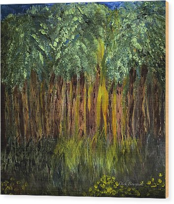 Light In The Forest Wood Print by Dick Bourgault