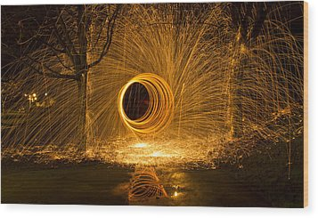 Light Painting Wood Print by Inge Riis McDonald