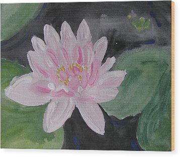Wood Print featuring the painting Light Pink Water Lily by Vikram Singh