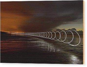 Light Play On Saunton Sands Wood Print by Pete Hemington