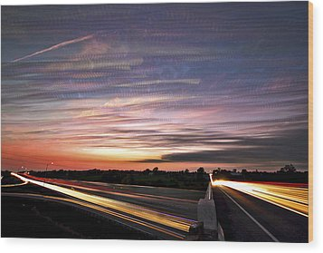 Light Speed Sunset Wood Print by Matt Molloy