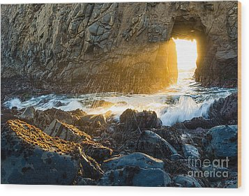 Light The Way - Arch Rock In Pfeiffer Beach In Big Sur. Wood Print by Jamie Pham