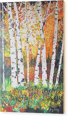 Wood Print featuring the painting Sunrise On Birch by Gary Smith