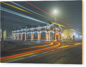 Wood Print featuring the photograph Light Trails by Jaroslaw Grudzinski