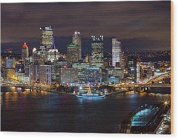 Light Up Night Pittsburgh 3 Wood Print by Emmanuel Panagiotakis