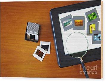 Lightbox With Slides Wood Print by Carlos Caetano