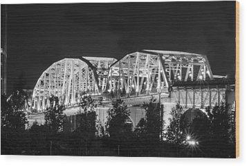 Wood Print featuring the photograph Lighted Pedestrian Bridge  by Robert Hebert