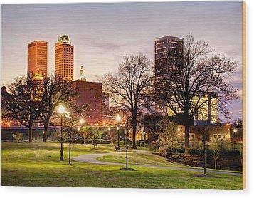 Lighted Walkway To The Tulsa Oklahoma Skyline Wood Print by Gregory Ballos