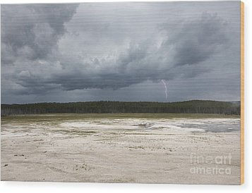 Lightening At Yellowstone Wood Print by Belinda Greb