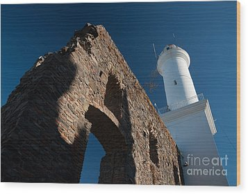Lighthouse And Ruin Of The Convento De San Fransisco In Colonia - Uruguay Wood Print by OUAP Photography