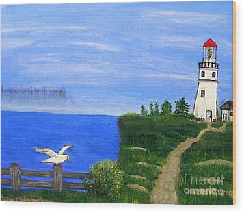 Lighthouse And Seagull  Wood Print by Mindy Bench