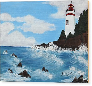 Lighthouse And Sunkers Wood Print by Barbara Griffin