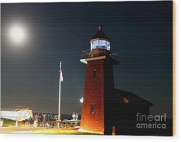 Wood Print featuring the photograph Lighthouse And The Full Moon by Theresa Ramos-DuVon