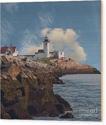Lighthouse At Cape Ann's Harbor Wood Print