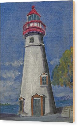 Lighthouse At Marblehead Wood Print by Richard Goohs