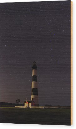 Wood Print featuring the photograph Lighthouse At Night by Gregg Southard