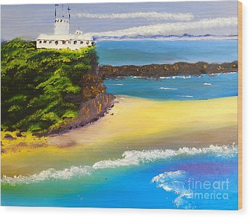 Wood Print featuring the painting Lighthouse At Nobbys Beach Newcastle Australia by Pamela  Meredith