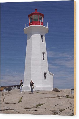 Lighthouse At Peggy's Cove Wood Print by Brenda Anne Foskett
