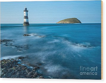 Lighthouse At Penmon Point Wood Print by Adrian Evans
