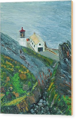 Wood Print featuring the painting Lighthouse At Point Reyes California by Michael Daniels