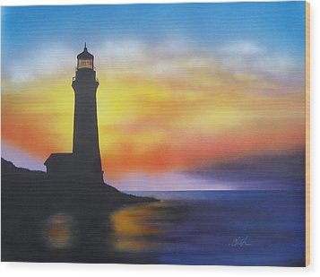 Lighthouse At Sunset Wood Print by Chris Fraser