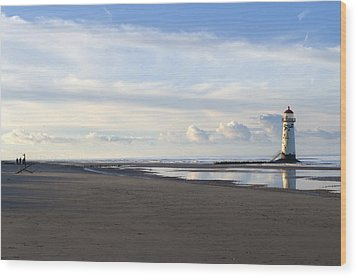 Lighthouse At Talacre Wood Print by Spikey Mouse Photography