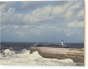 Lighthouse At Whitehaven Wood Print by Amanda Elwell