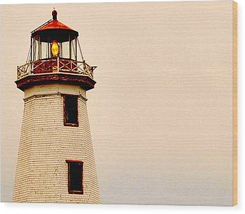 Lighthouse Beam Wood Print by Steve Archbold